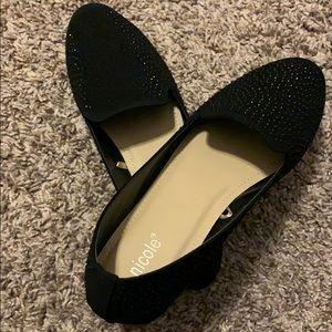 Size 9 1/2 Black Sparkle Slip-On Loafers